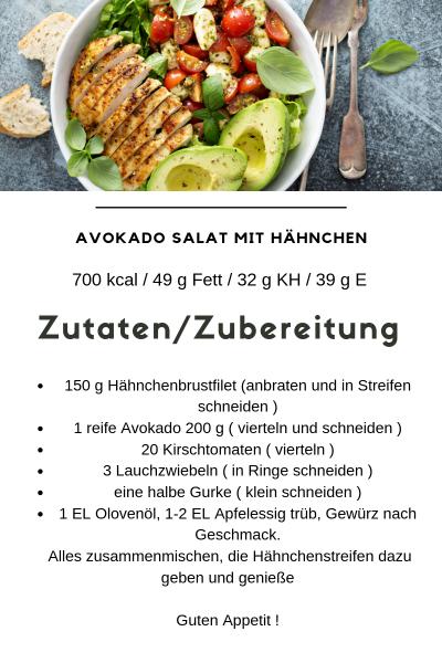 Avokado Salat mit Hähnchen